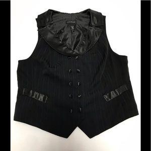 Lane Bryant black striped button down vest size 20